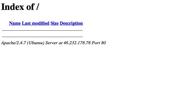 Leeres Verzeichnis mit Serverinformationen