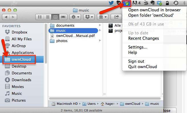 ownCloud App Mac OS