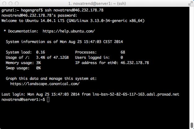 Anmeldung an einem NOVATREND Root-Server der unter Ubuntu 14.04.1 LTS läuft