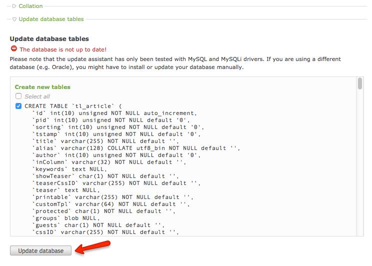 Datenbank Update