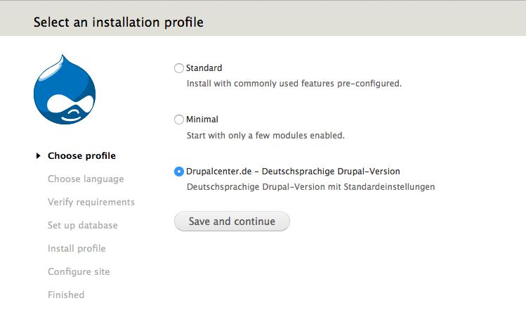 Auswahl des Drupalcenter.de Installationsprofils
