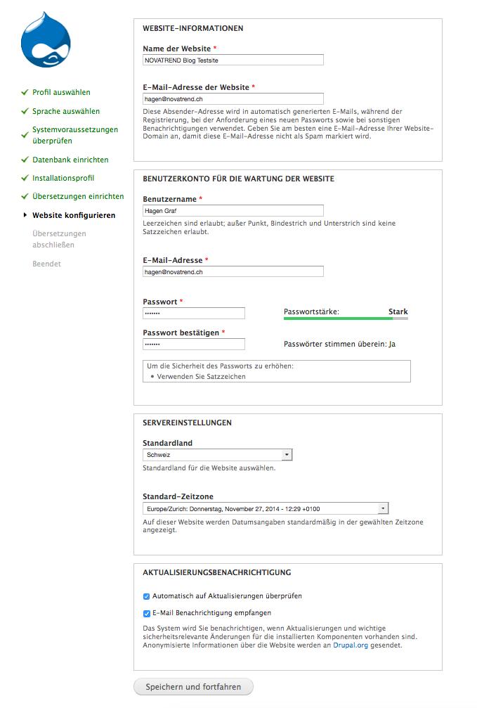 Website konfigurieren