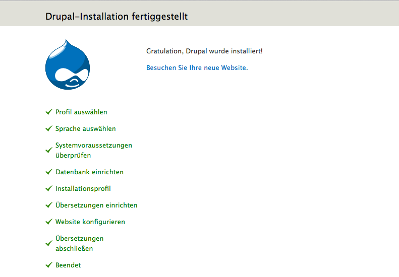 Drupal Installation fertiggestellt