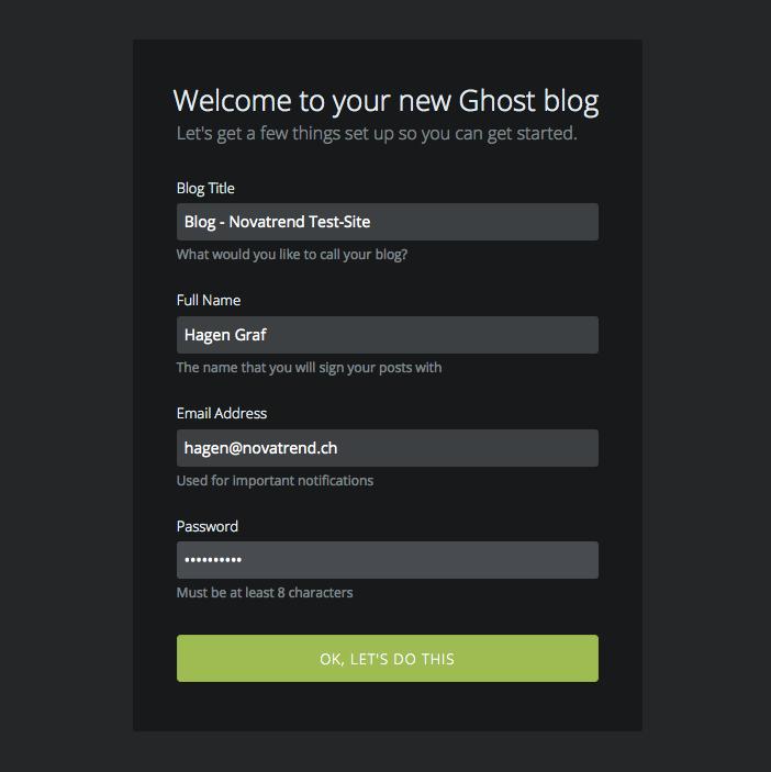 Ghost User anlegen