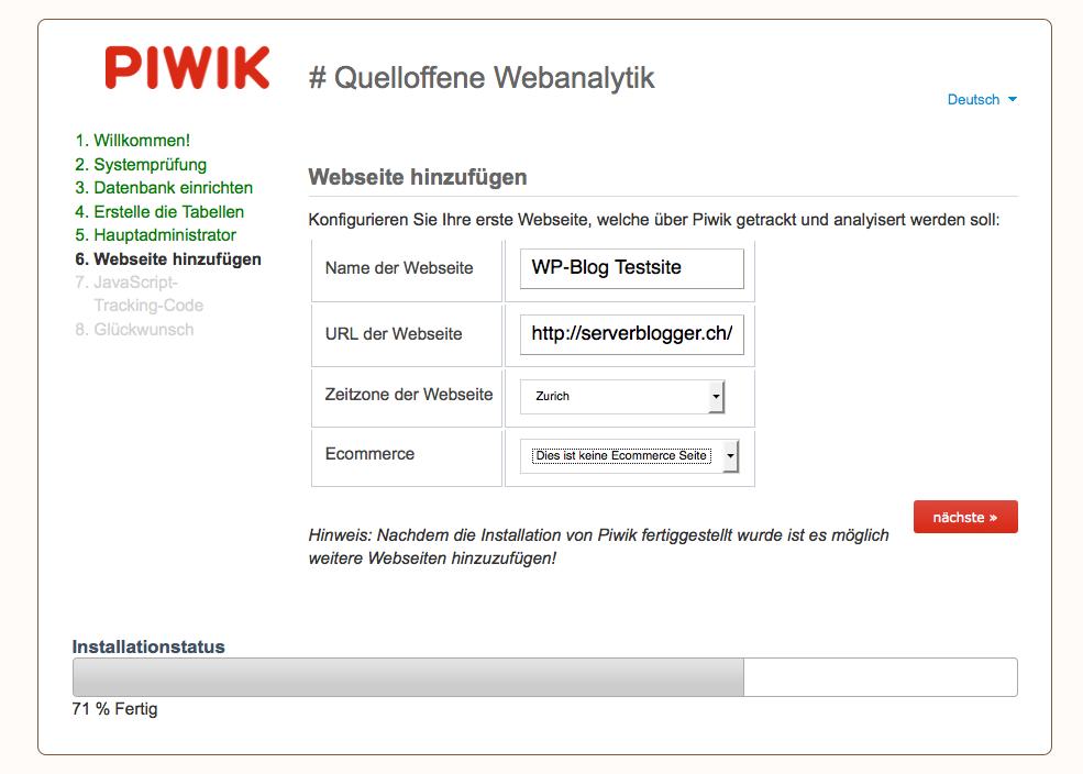 Erste Website hinzufügen - Unsere Beispielistallation WordPress