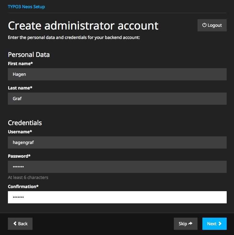 Administrator Account erstellen
