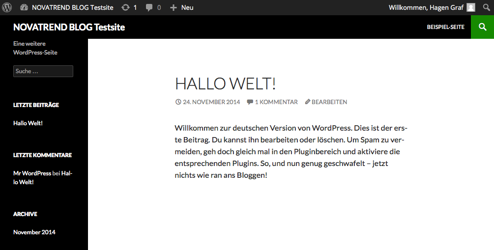 Website nach der Installation