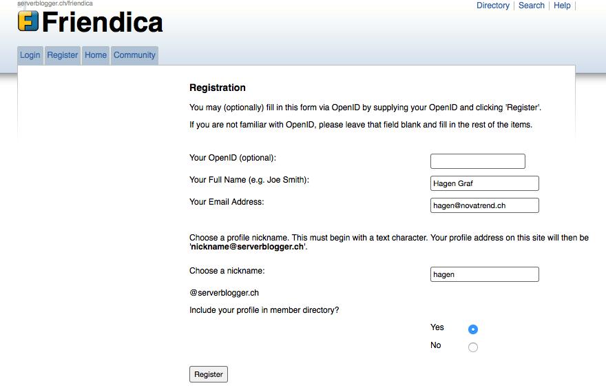 Erstmalige Registrierung