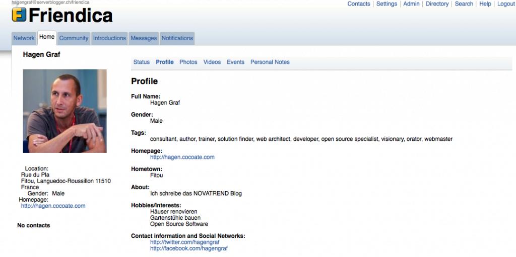 Friendica - Profil