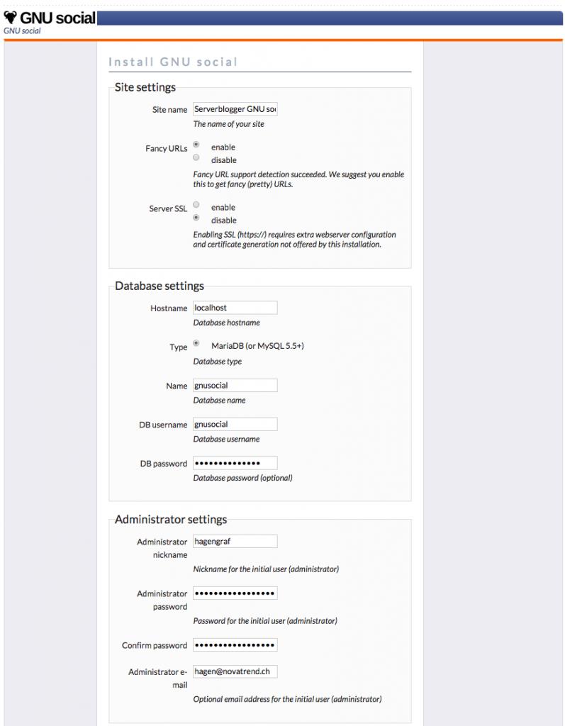 GNU social Installation