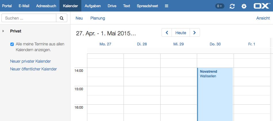 OX App Suite - Kalender