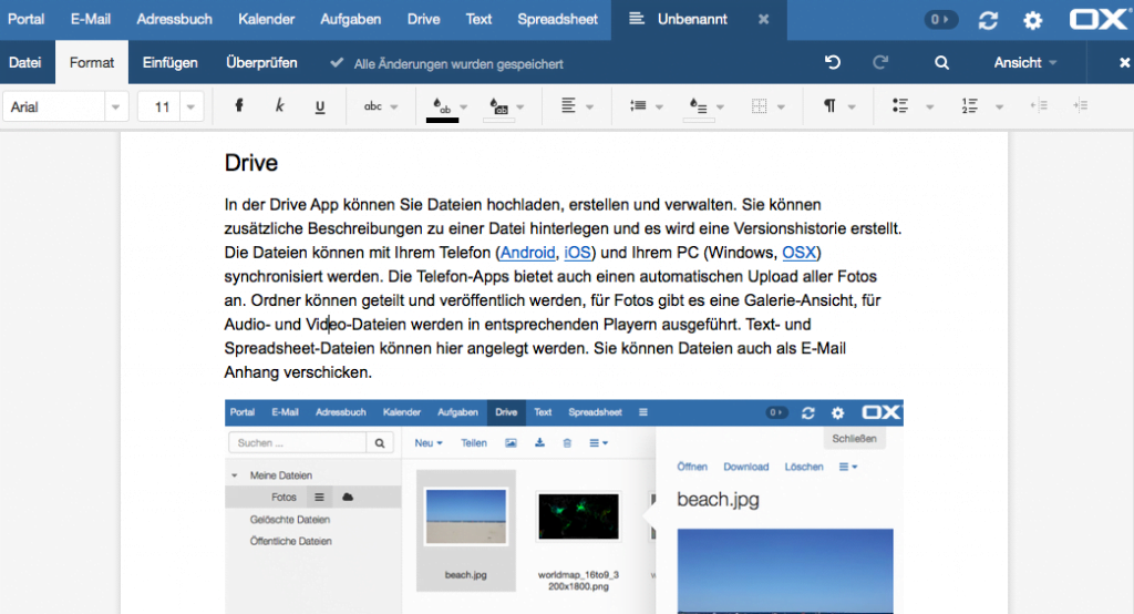 OX App Suite - Textverarbeitung