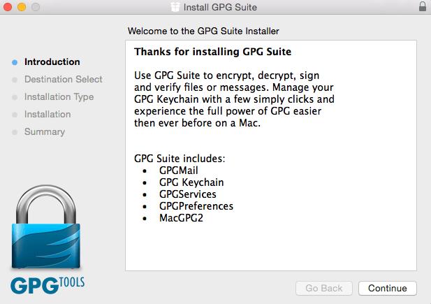 Installation GPG Suite
