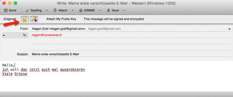Erste verschlüsselte E-Mail