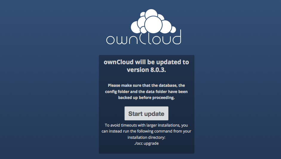 OwnCloud Database Update