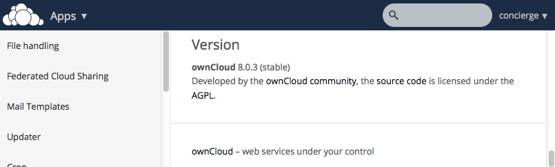 OwnCloud - Version