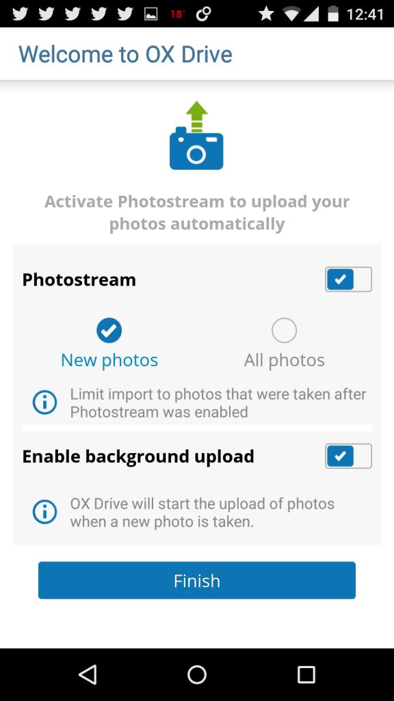 OX Drive - Photostream Einstellungen