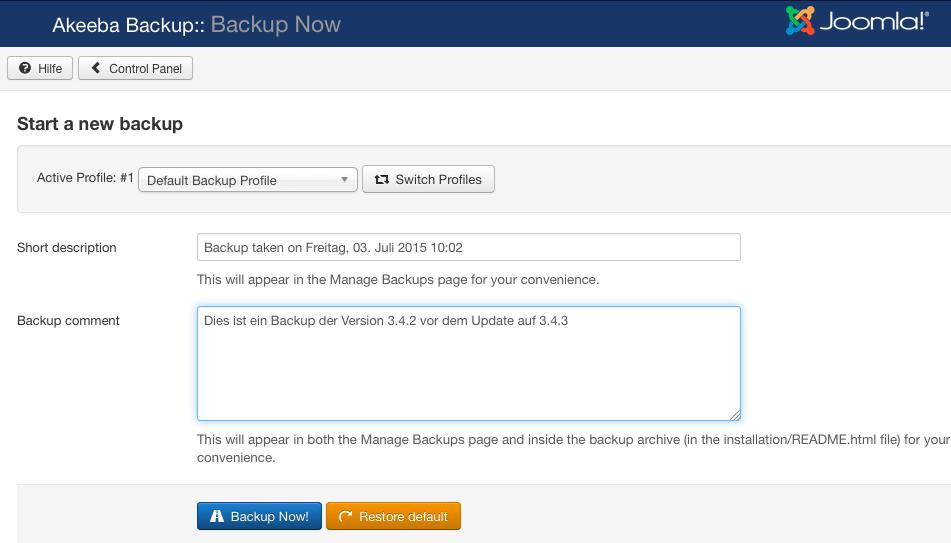Akeeba Backup - Update Beschreibung