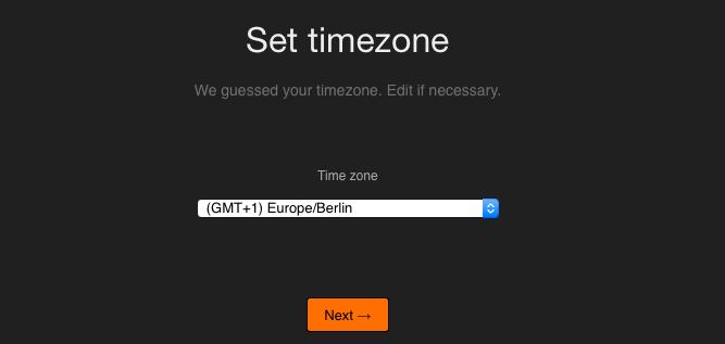 Installation - Zeitzone
