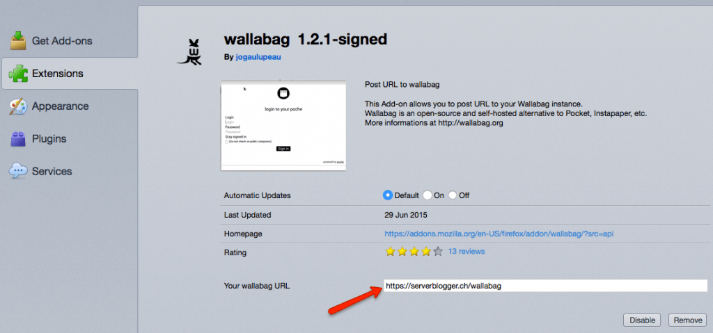 Wallabag - Firefox Add On
