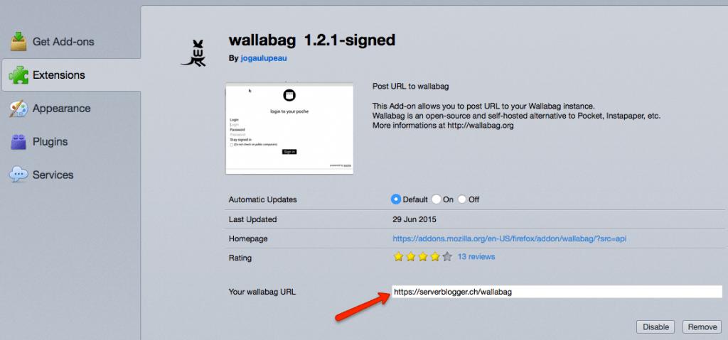 Wallabag - Firefox Add On