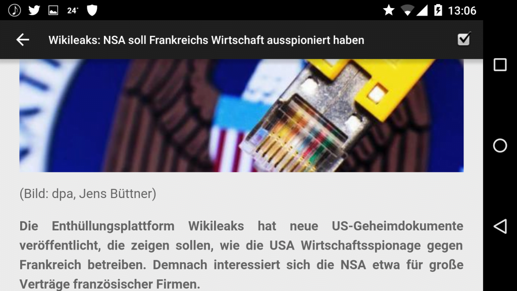 Wallabag - Android - einzelner Artikel