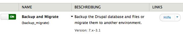 Backup and Migrate Modul im Modulverzeichnis