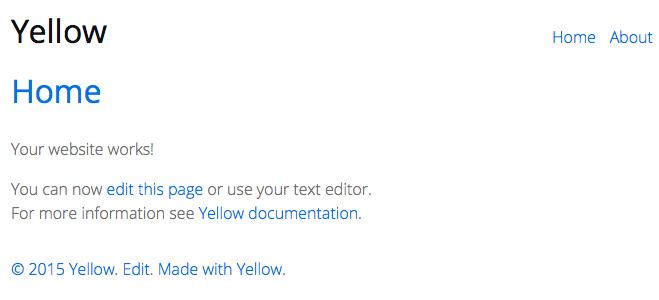 Erster Aufruf von Yellow