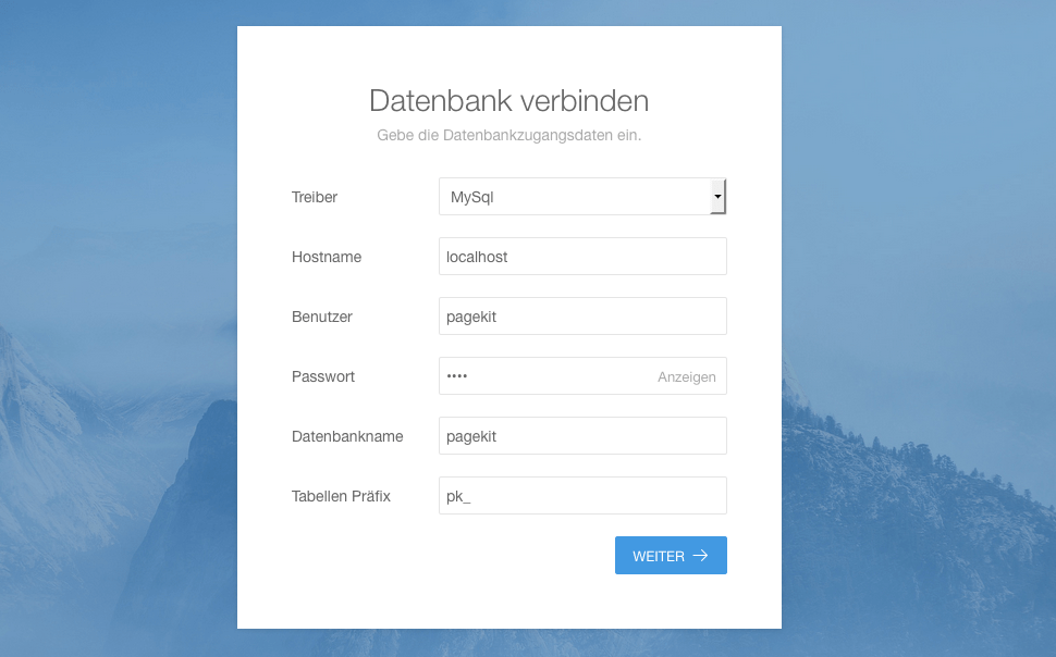 Installation - Datenbank Anbindung