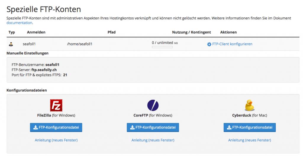 cPanel - FTP-Konten