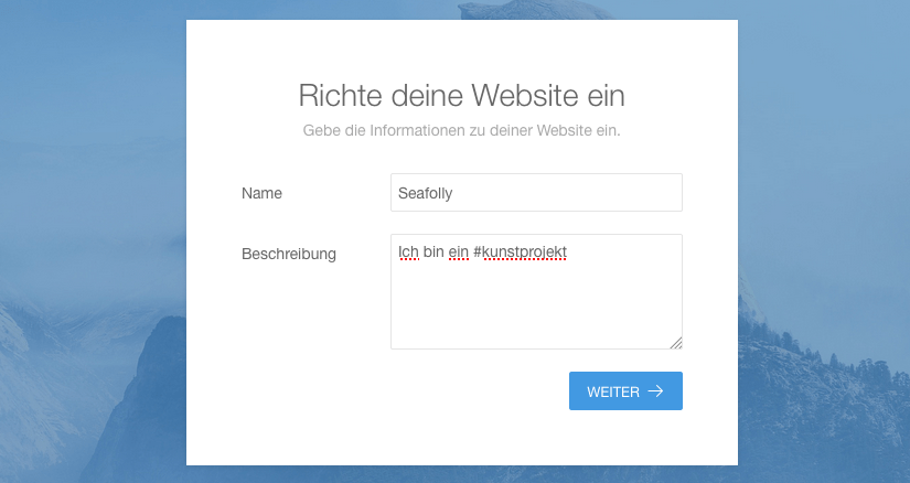Installation - Name der Website