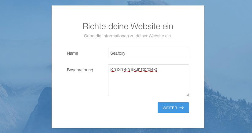 Installation - Name der Website