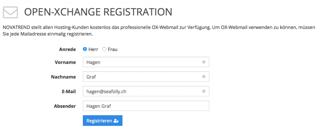 OX App Suite - Registrierung
