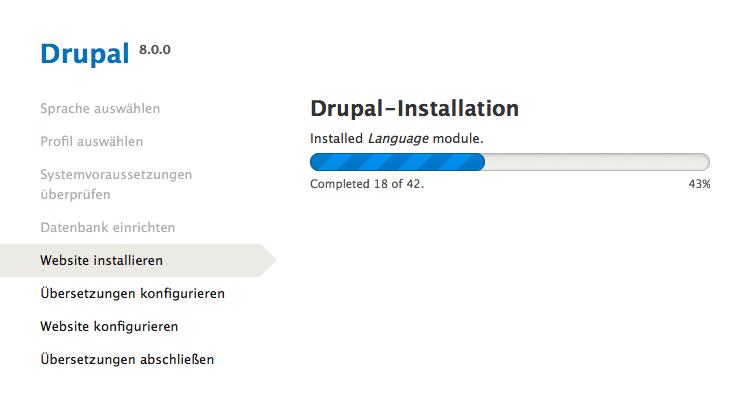 Drupal - Installation - Fortschritt