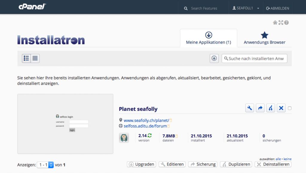 cPanel - Installatron - installierte Anwendungen