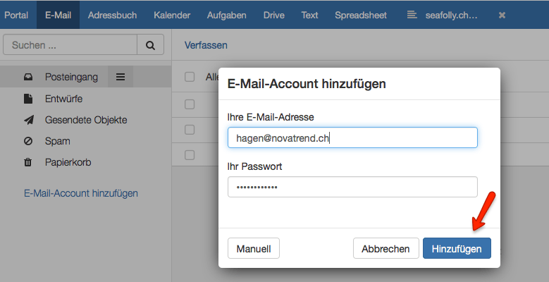 Mehrere E-Mail Accounts in der OX App Suite