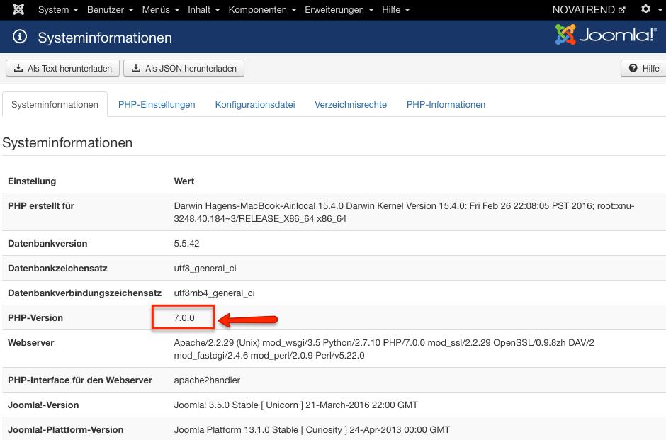 Joomla - PHP 7.0