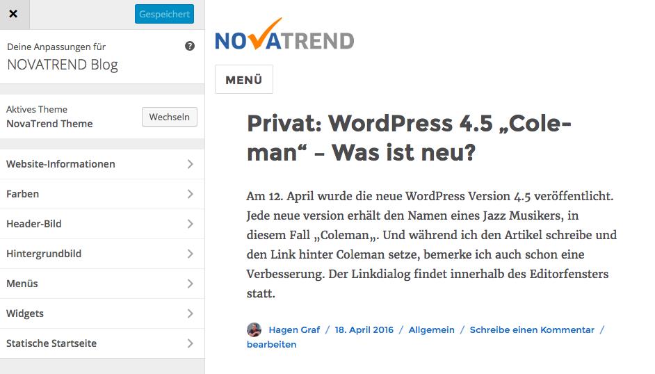 WordPress 4.5 - Responsiver Anpassen Dialog