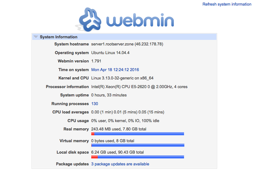 Webmin - Systeminformationen