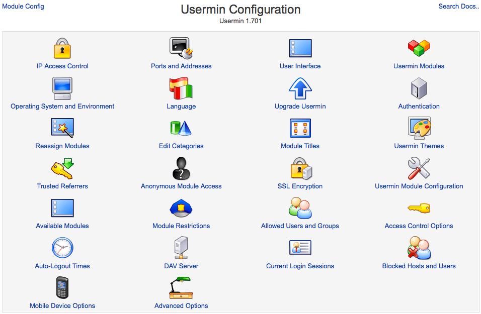 Usermin Konfiguration
