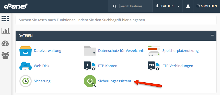 cPanel - Sicherungsassistent