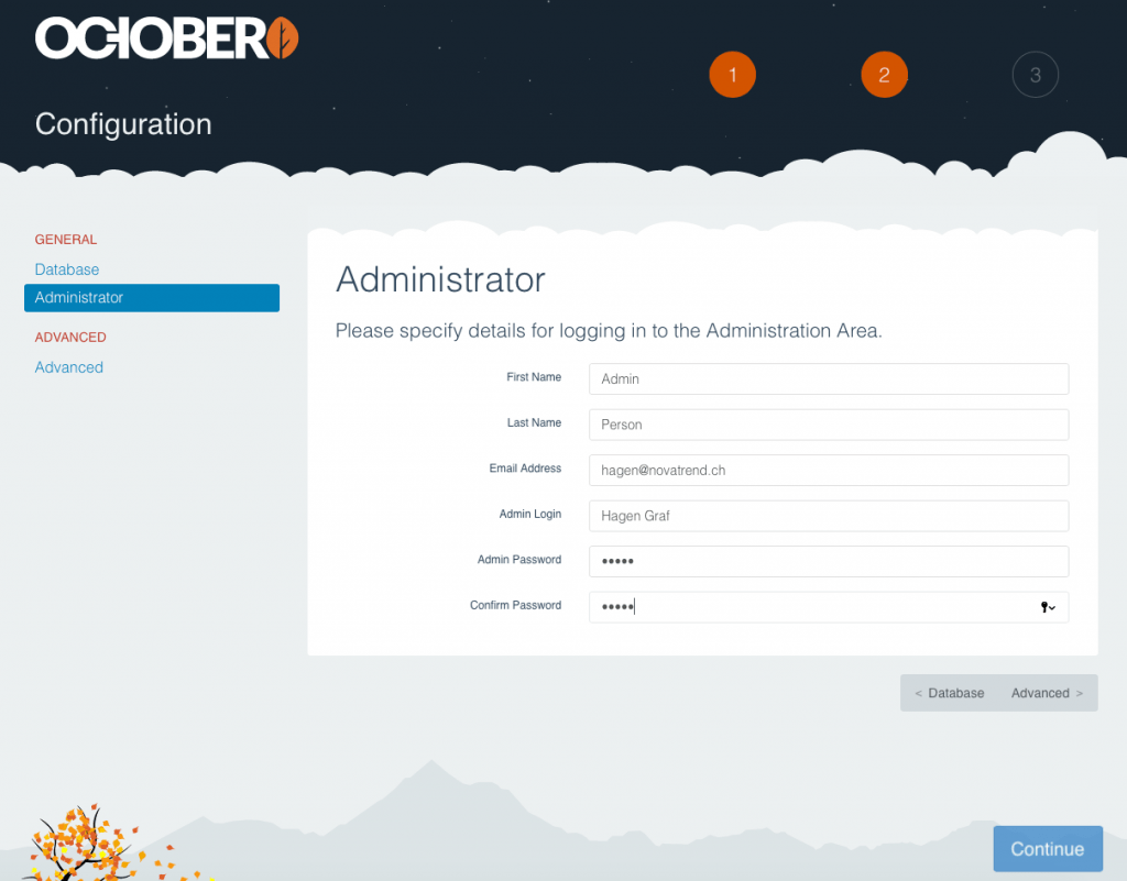 October CMS - Administrationsdaten