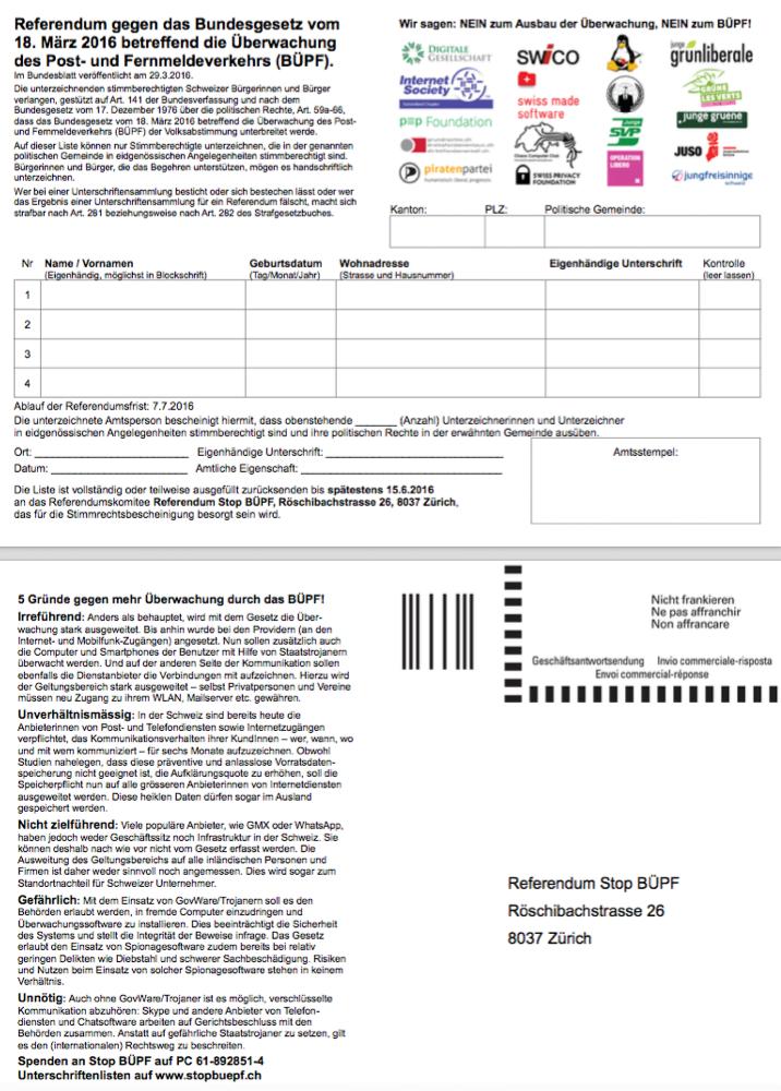 Referendum gegen das Bundesgesetz vom 18. März 2016 betreffend die Überwachung des Post- und Fernmeldeverkehrs (BÜPF).