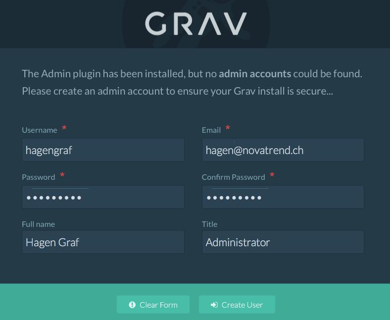 GRAV - Admin - Benutzerkonto anlegen