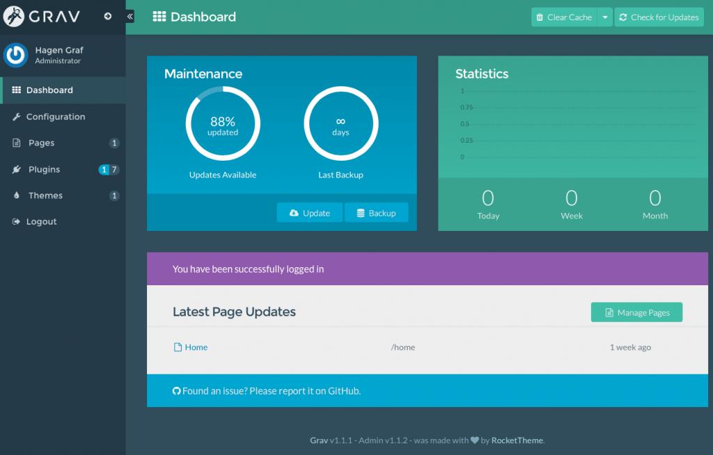 GRAV - Admin - Dashboard