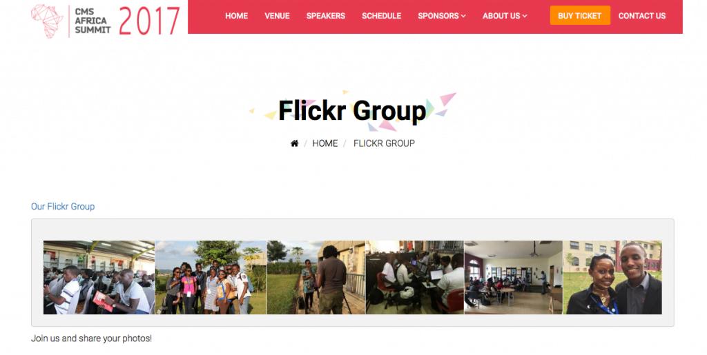 Flickr Gruppe für eine Veranstaltung