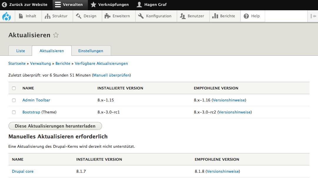 Webhosting: Drupal 8 mit drush aktualisieren