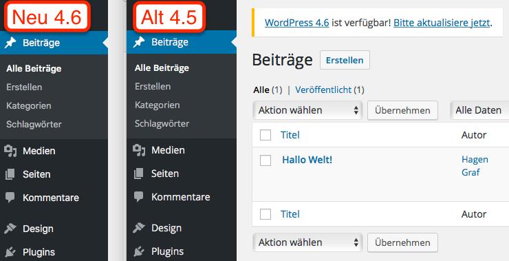 Vergleich Schriftarten WordPress 4.6 und WordPress 4.5