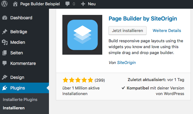 WordPress - Page Builder by SiteOrigin