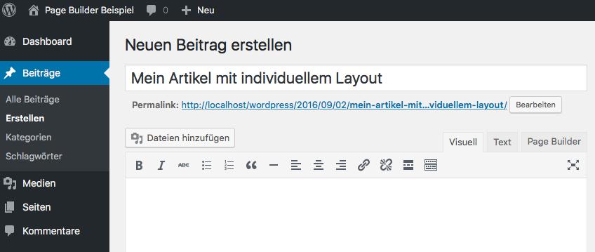 WordPress - Neuer Beitrag